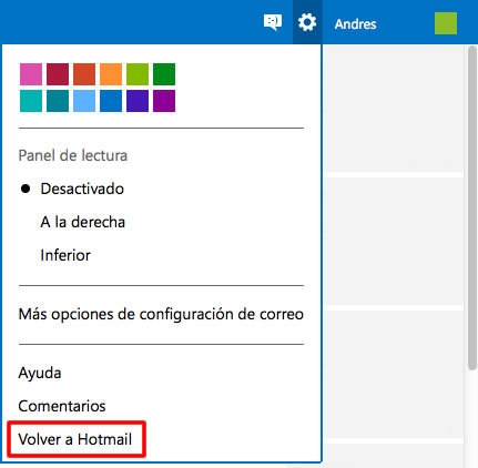 volver a hotmail
