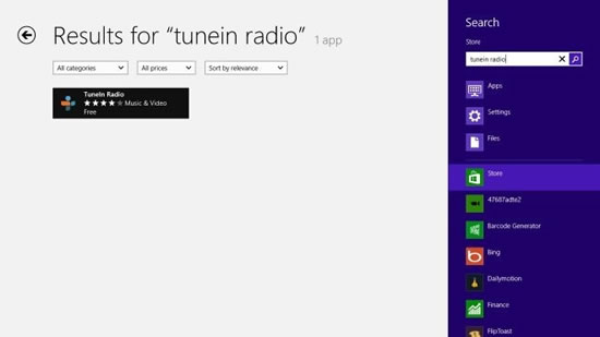 tunein radio windows8