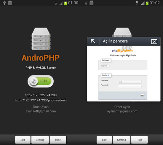 androphp servidor web android